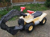 Kids ride on garden tractor excavator