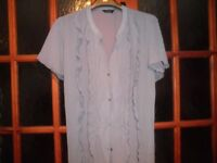 Lady's silver grey, short sleeve blouse and camisole set. Ideal Christmas party wear. Plus size 28