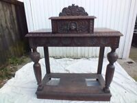 Solid Oak Antique Umbrella Stand/ Sideboard