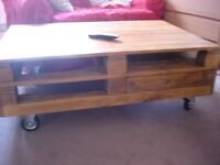 INDUSTRIAL DESIGN, CUSTOM MADE SOLID WOOD COFFEE TABLE.