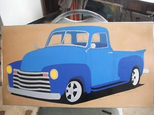 1949 chev truck painting on wood
