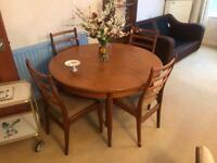 Vintage 1960's G-Plan Solid Teak Dining Table & 4 Chairs