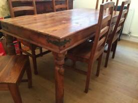 Solid hardwood dining table and chairs