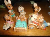 6 Pendelfin Rabbits. Muncher, Bongo, Tammy, Twins, Barrow Boy and Pieface.
