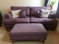 3 seater sofa and footstool - excellent condition!