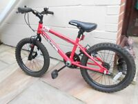 "CHILDS BICYCLE - APOLLO OUTRAGE 18"" WHEELS, RED AND BLACK. Purchased from Halfords"