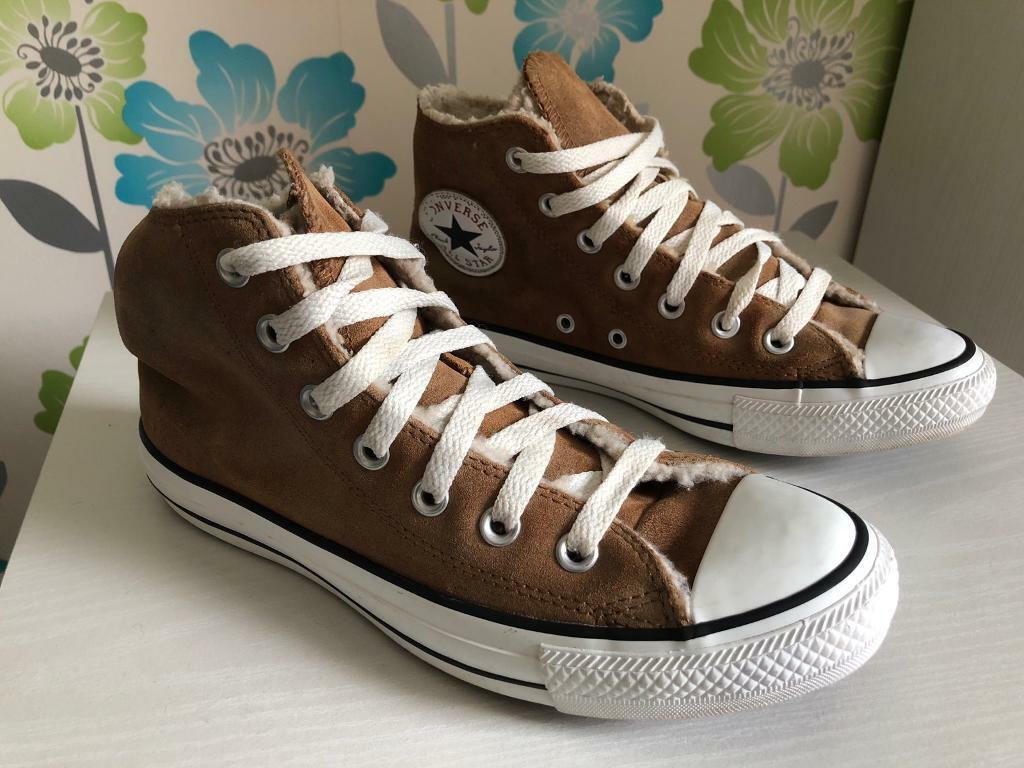 cb1beae2e3ea Ladies UK size 5 1 2 Converse tan brown colour trainers. Sheep-wool lined.