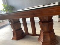 Luxury Solid Wood Dining Table with Glass Top