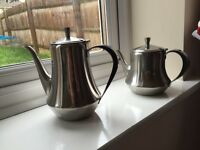 Two Stainless Steel Teapots