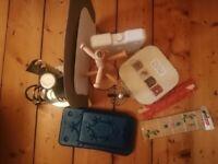 Misc Kitchen Items: Spice Rack, Mug Tree, Mugs, Chopping Board, Ice Packs