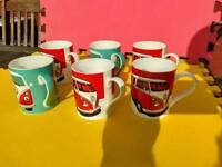 6 VW bone China mugs+3 VW tins+3 storage jars