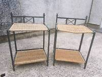 Metal and wicker side tables or bedside tables