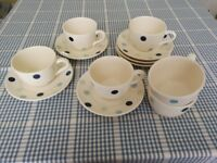 Set of 6 Tea Cups and Saucers, White with Blue Spots, Never Used