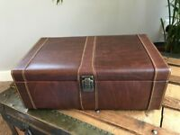 Leather Games Chest - Poker/Pictionary/Black Jack - Unused Gift