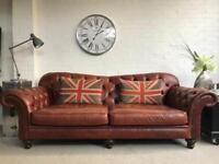 Large 3.5 seater brown leather Chesterfield sofa. Can deliver