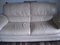 3&2 seater cream leather settees (DFS)