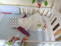 Mothercare white baby cot and mattress