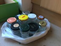 10 jars with lids