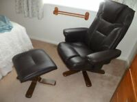 Leatherlook reclining chair and footstool