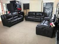 FAMOUS STORE BROWN REAL LEATHER 9 SEATER SOFA SET ELECTRIC POWER RECLINER 3 and 3 plus 3