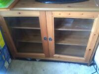 IKEA Solid pine glass door cabne with two deep shelves