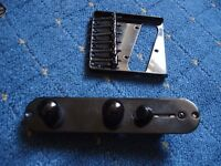 Black telecaster bridge and control plate