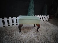 GREEN VELVET FOOTSTOOL WITH QUEEN ANN LEGS VERY SOLID STOOL