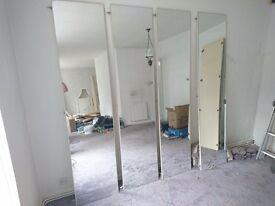 Mirrored wardrobe doors x 4