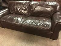 As new dark brown leather 3 and 2 sofa set
