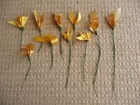 10 Stems with golden yellow loop ribbons for Artificial Flower Arrangements