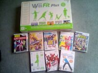 NINTENDO WII FIT PLUS AND 8 GAMES