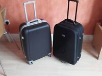 2 x Black Suitcases - Both Wheeled With Handles