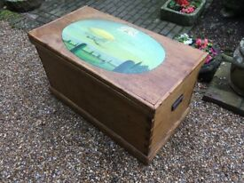 Vintage Pine Storage Trunk Or Coffee Table with Hand Painted Picture