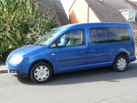 V.W. Caddy Maxi Life. 7 seater - full electric wheelchair access ramp. Auto. Full service history.