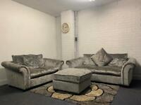 SOLD Silver crushed velvet sofas 3&2 delivery 🚚 suite couch furniture