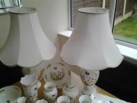 Aynsley cottage garden collection. 26 pieces in total. Includes 2 table lamps, 2 clocks, plates etc
