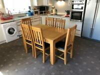 6 Months Old - Cost £799 Astoria Solid Oak Extending Wood Dining Table + 6 Oak Chairs Black Leather