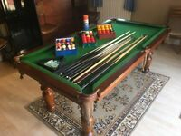 Slate Bed Pool Dining Table - Handmade & Antique - Hand Made Leather Chairs & all accessories needed