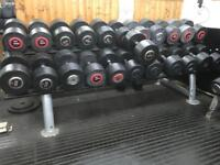 Commercial Dumbells set with rack gym weights, hammer strength, Escape, Ivanko