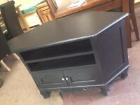 Large black carved corner tv unit