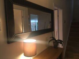 Black suede frame mirror