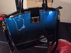 LYDC London 2 toned Blue Patent bag
