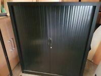 Black tambour storage cabinet