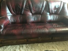 Dfds 3 seater leather sofa