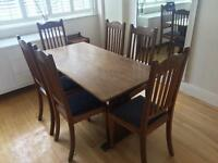 6 seater vintage refectory style dark oak dining table