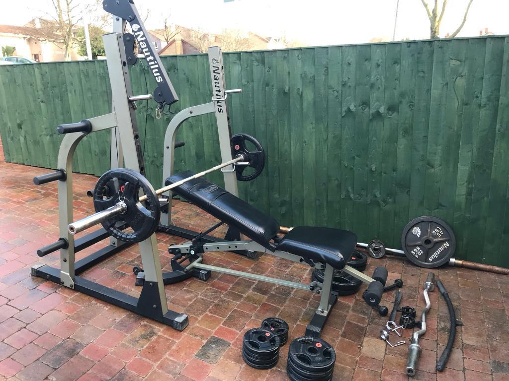 Nautilus Half Rack Plus Free Weights In Newport Gumtree
