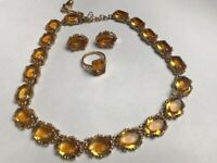 Vintage faux topaz, necklace, earrings and ring set