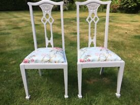 Two Hand Painted Vintage Chairs with Reupholstered Seats
