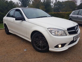 Mercedes C250 AMG 2010, Auto, Low Mileage, 1 owner, White, Sat Nav, DVD, Alloys, Top of the Range