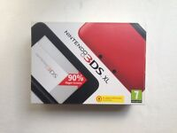 Nintendo 3DS XL (red, boxed in excellent condition) with carry case and accessories
